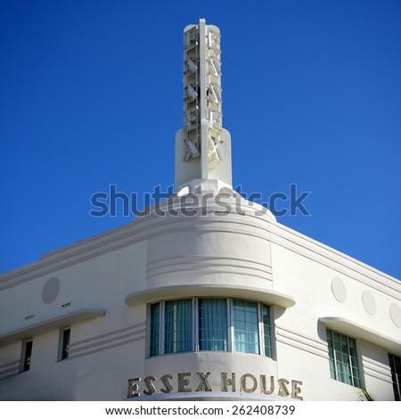 MIAMI - DEC 24: Art Deco Style Building Essex House in Miami Beach on December 24th, 2012 in Miami, Florida, USA. - stock photo