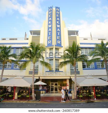 MIAMI - DEC 25: Breakwater Building with Art Deco Style in Miami Beach on December 25th, 2012 in Miami, Florida, USA. - stock photo