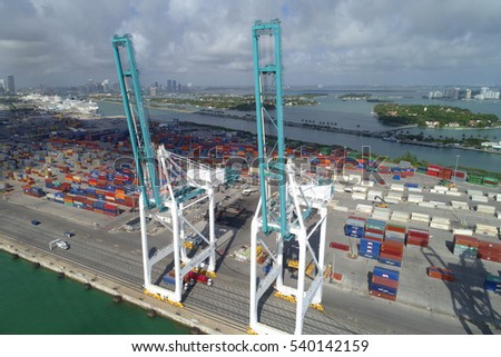 MIAMI - DECEMBER 15: Aerial image of Port Miami which is South Florida's main cargo and passenger transit port located south of Miami Beach December 15, 2016 in Miami FL, USA
