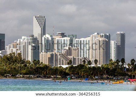 MIAMI - DECEMBER 30 2015: Hobie Beach is Miami's most popular beach for windsurfers and dog lovers, located in a narrow strip along the Rickenbacker Causeway in Key Biscayne.