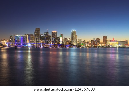 MIAMI - DECEMBER 22: Miami downtown at night seen from Watson Island on December 22, 2012. Miami is the fourth largest urban area in the United States and a popular travel destination. - stock photo