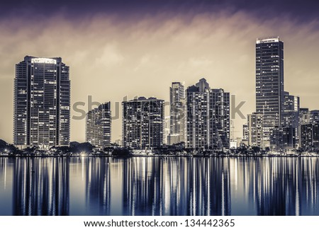 Miami downtown at night in South Florida - stock photo