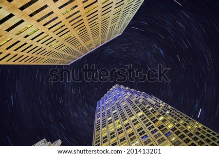 Miami downtown high-rising with star trails - stock photo