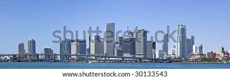 Miami downtown panorama business and residential buildings - stock photo