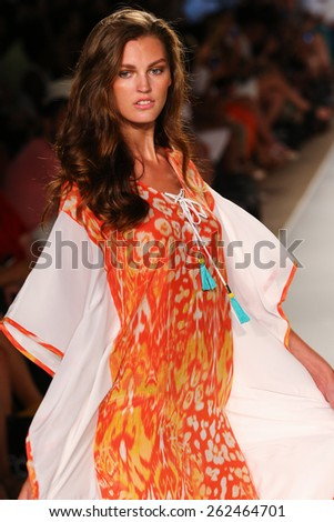 MIAMI, FL - JULY 20: A model walks the runway at the Caffe Swimwear during MBFW Swim 2015 at The Raleigh hotel on July 20, 2014 in Miami, FL.