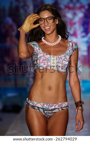 MIAMI, FL - JULY 19: A model walks the runway at the Maaji Swimwear fashion show during MBFW Swim 2015 at The Raleigh hotel on July 19, 2014 in Miami, FL.