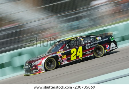 MIAMI, FL - Nov 15: Jeff Gordon at the Nascar Sprint Cup Ford Ecoboost 400 practice at Miami Speedway in Homestead, FL on November15, 2014 - stock photo