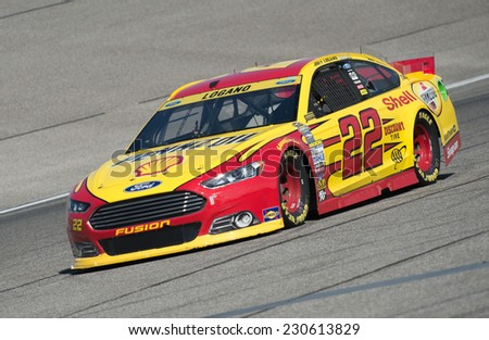 MIAMI, FL - Nov 14: Joey Logano at the Nascar Sprint Cup Ford Ecoboost 400 practice at Miami Speedway in Homestead, FL on Nov 14, 2014