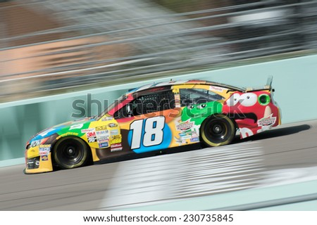 MIAMI, FL - Nov 15: Kyle Busch at the Nascar Sprint Cup Ford Ecoboost 400 practice at Miami Speedway in Homestead, FL on November15, 2014 - stock photo