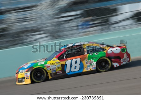 MIAMI, FL - Nov 15: Kyle Busch at the Nascar Sprint Cup Ford Ecoboost 400 practice at Miami Speedway in Homestead,FL on November15, 2014 - stock photo