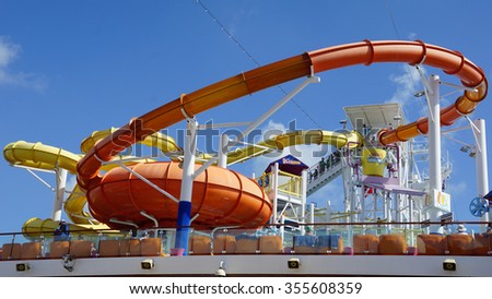 MIAMI, FL - NOV 1: Water slides on the Carnival Breeze docked in Miami, Florida, on Nov 21, 2015. The Breeze is a Dream-class cruise ship owned by Carnival Cruise which entered service in June 2012.