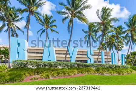 MIAMI, FL - SEPTEMBER 9: Bayside Marketplace  on September 9, 2014 in Miami, Florida. It is a festival marketplace and the top entertainment complex in Downtown Miami - stock photo