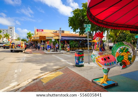 Miami, FL USA - December 18, 2016: Colorful artwork on display along the popular Calle Ocho in historic Little Havana.