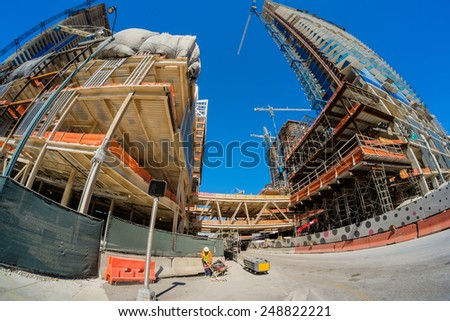 Miami, Fl USA - January 28, 2015: Fish eye view of the Brickell City Centre construction project underway in downtown Miami scheduled to be completed in 2016.