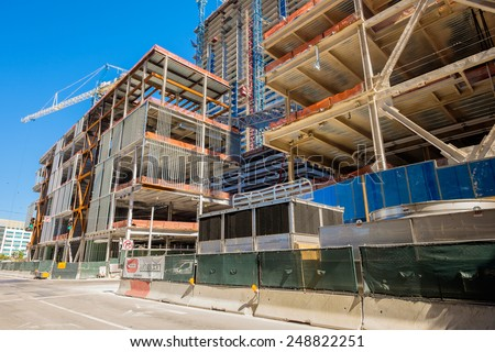 Miami, Fl USA - January 28, 2015: The Brickell City Centre construction project underway in downtown Miami scheduled to be completed in 2016. - stock photo