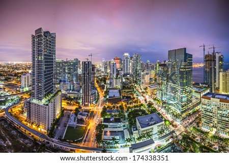 Miami, Florida aerial view of downtown. - stock photo