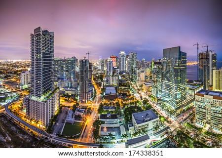 Miami, Florida aerial view of downtown. - stock photo