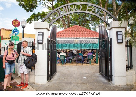 MIAMI, FLORIDA - APRIL 25, 2016:  View of gate to landmark Domino Park along Calle Ocho in Little Havana.