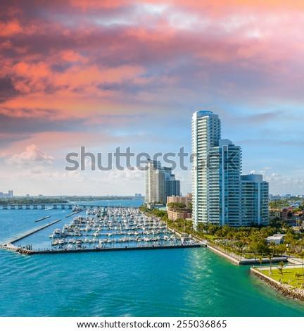 Miami, Florida. Beautiful city skyline at dusk. - stock photo