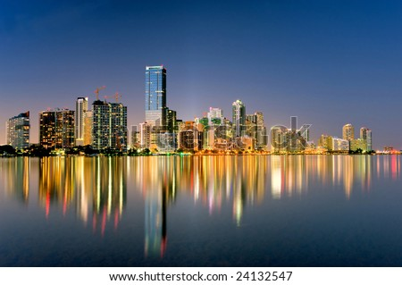 miami florida biscayne bay city skyline and shimmering lights at night, 2009 - stock photo