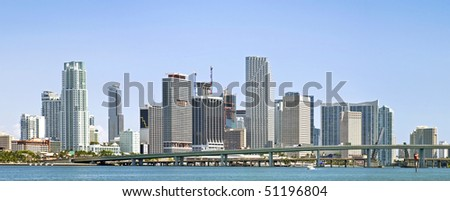Miami Florida business buildings and downtown urban architecture panorama - stock photo