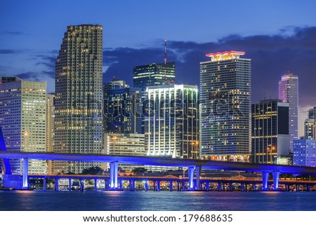 Miami Florida, by night, USA - stock photo