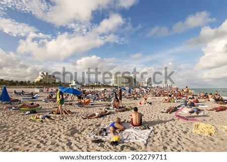 Miami - Florida-January 1st, 2012  Crowded Miami Beach, South Beach, Miami, Florida, Usa - stock photo