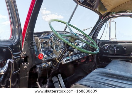 MIAMI, FLORIDA-May 25, 2013: Close up of the interior of an antique 1957 Mack truck B-61 Thermodyne. The B series trucks were introduced in 1953 and one of Mack truck'Â?Â?s  most successful  products.