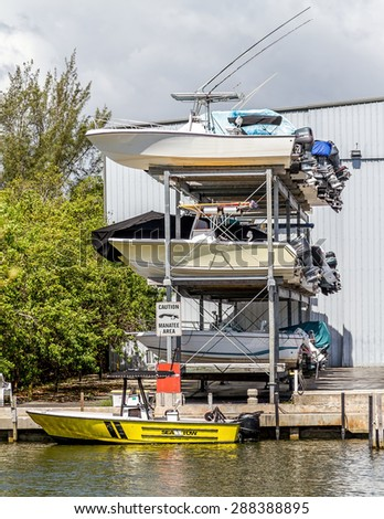 Miami, FLORIDA - May 28, 2015: View of an outdoor storage facilities for pleasure and fishing boats getting ready for the season - stock photo
