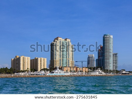 MIAMI, FLORIDA, NOVEMBER 24:  A view of the Miami Beach Marina on November 24th, 2014.  The marina is located adjacent to Government Cut minutes from the Atlantic Ocean. - stock photo