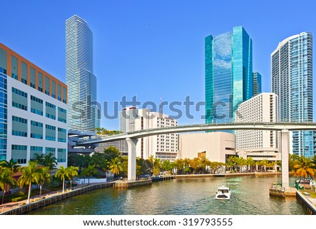 MIami Florida,Panorama of River and skyline of  business buildings in Brickell financial district on a beautiful summer day - stock photo