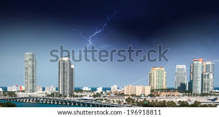 Miami, Florida. Storm in the sky above the city. - stock photo