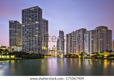 Miami, Florida, USA at Brickell Key and Miami River.