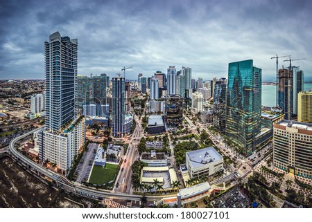 Miami, Florida, USA downtown aerial cityscape. - stock photo