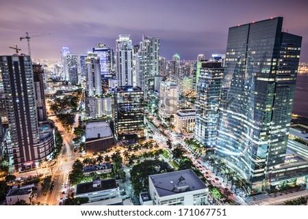 Miami, Florida, USA downtown nightt aerial cityscape at night. - stock photo