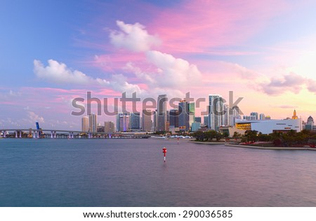 Miami Florida USA, famous travel destination, downtown modern buildings at sunset with colorful sky - stock photo