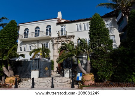 MIAMI - FLORIDA - USA - JUNE 23: Versace mansion. In 1997 the world gasped as Gianni Versace was shot to death on the doorstep of his Miami South Beach mansion on june 23 2014 in Miami USA - stock photo