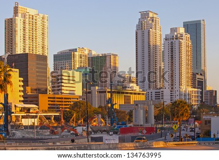 MIAMI FLORIDA, USA-MARCH 27: Massive ongoing construction projects in downtown and Brickell areas on March 27, 2013 among the increasing demand of luxury real estate