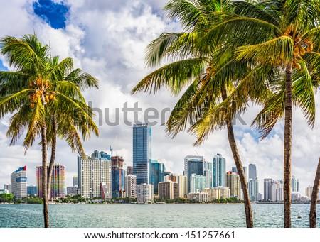 Miami, Florida, USA tropical downtown skyline. - stock photo