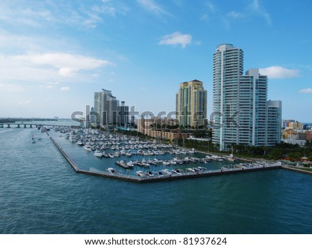 Miami harbor with private yachts. - stock photo