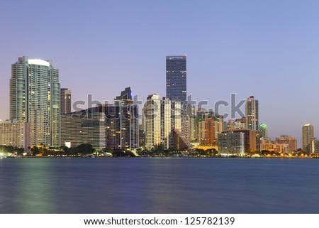 Miami. Image of Miami downtown skyline during sunrise.