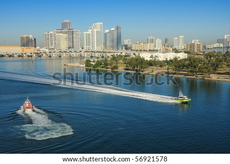 Miami in day time and shore gard boat , Florida, USA. - stock photo
