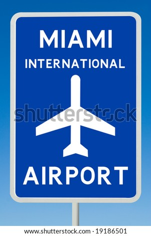Miami International Airport Sign - stock photo