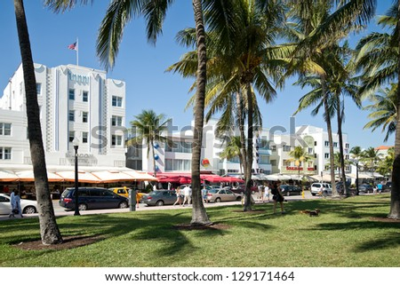 MIAMI - JAN. 26: Art Deco District on January 26, 2013 in South Beach Miami.   Located between 6th and 23rd St and between Ocean Drive and Lennox Ave,  it contains many restored buildings from 30's