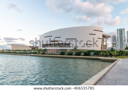MIAMI - JANUARY 12, 2016: American Airlines Arena stadium at sunset. It is home to National Basketball Association team the Miami Heat.