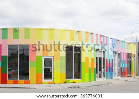 MIAMI - JANUARY 21: Stock image of the world famous Art Walls at Wynwood which is a neighborhood north of Downtown Miami and is Miami's central art district January 21, 2015 in Miami FL - stock photo
