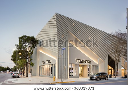 MIAMI JANUARY 6; TOM FORD store within the Miami Design District by Aranda\Lasch  . The Miami Design District is a luxury shopping area dedicated to fashion, design and art. MIAMI, JANUARY 6, 2015 - stock photo