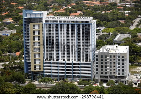 MIAMI - JULY 15: Aerial image of One Plaza West Brickell a modern apartment building located at 1800 NW 1st Ave July 15, 2015 in Miami FL USA - stock photo