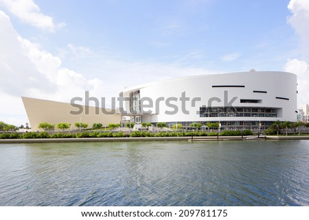 MIAMI - JULY 15:American Airlines Arena at Downtown Miami. AA Arena is home to the Miami Heat basketball team taken on July 15, 2014 in Miami USA - stock photo