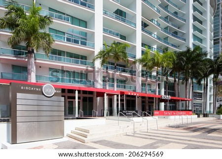 MIAMI - JULY 15: The 900 Biscayne Condos which was built in 2008 at 650 feet 516 residential condominiums and 800 parking spaces July 15, 2014 in Miami FL.  - stock photo